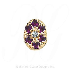 GS032 D/AMY - 14 Karat Gold Slide with Diamond center and Amethyst accents