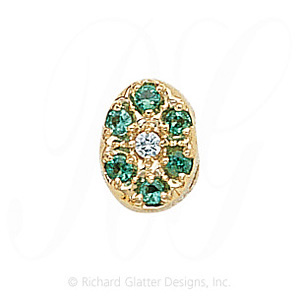 GS032 D/E - 14 Karat Gold Slide with Diamond center and Emerald accents