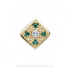 GS033 D/E - 14 Karat Gold Slide with Diamond center and Emerald accents