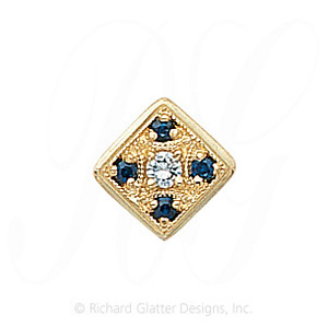 GS033 D/S - 14 Karat Gold Slide with Diamond center and Sapphire accents