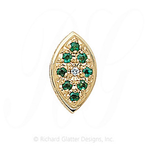 GS034 D/E - 14 Karat Gold Slide with Diamond center and Emerald accents