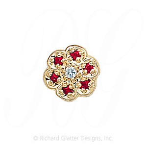 GS036 D/R - 14 Karat Gold Slide with Diamond center and Ruby accents