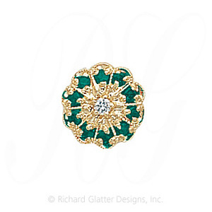 GS037 D/E - 14 Karat Gold Slide with Diamond center and Emerald accents