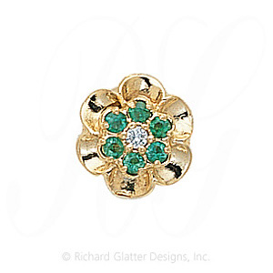 GS038 D/E - 14 Karat Gold Slide with Diamond center and Emerald accents
