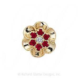 GS038 D/R - 14 Karat Gold Slide with Diamond center and Ruby accents