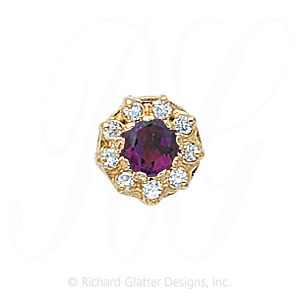 GS040 AMY/D - 14 Karat Gold Slide with Amethyst center and Diamond accents
