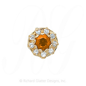GS040 CIT/D - 14 Karat Gold Slide with Citrine center and Diamond accents