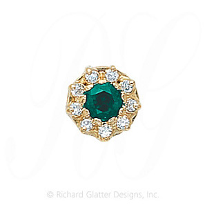 GS040 E/D - 14 Karat Gold Slide with Emerald center and Diamond accents