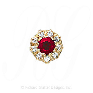 GS040 R/D - 14 Karat Gold Slide with Ruby center and Diamond accents