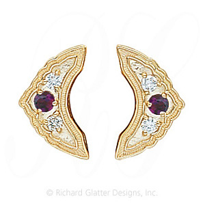 GS047-2 AMY/D - 14 Karat Gold Slide with Amethyst center and Diamond accents
