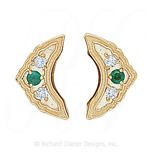 GS047-2 E/D - 14 Karat Gold Slide with Emerald center and Diamond accents