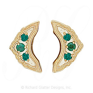 GS047-2 E - 14 Karat Gold Emerald Slide