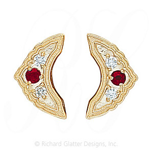 GS047-2 R/D - 14 Karat Gold Slide with Ruby center and Diamond accents