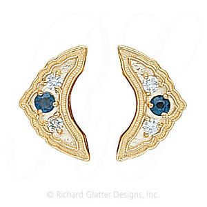 GS047-2 S/D - 14 Karat Gold Slide with Sapphire center and Diamond accents