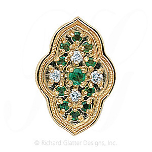 GS047 E/D/E - 14 Karat Gold Slide with Emerald center and Diamond and Emerald accents