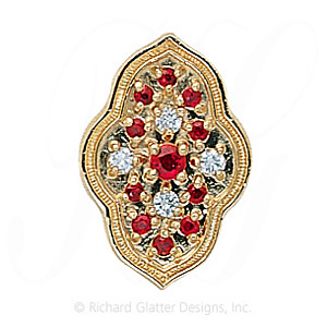GS047 R/D/R - 14 Karat Gold Slide with Ruby center and Diamond and Ruby accents