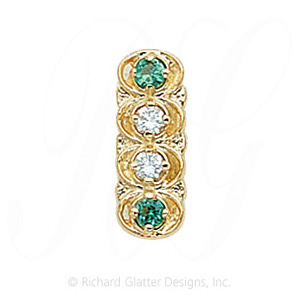 GS048 D/E - 14 Karat Gold Slide with Diamond center and Emerald accents