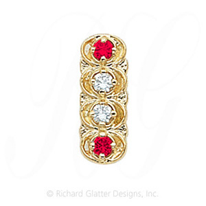 GS048 D/R - 14 Karat Gold Slide with Diamond center and Ruby accents