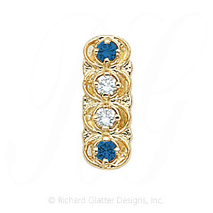 GS048 D/S - 14 Karat Gold Slide with Diamond center and Sapphire accents