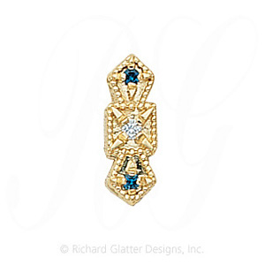 GS053 D/S - 14 Karat Gold Slide with Diamond center and Sapphire accents