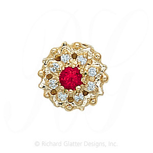 GS087 R/D - 14 Karat Gold Slide with Ruby center and Diamond accents