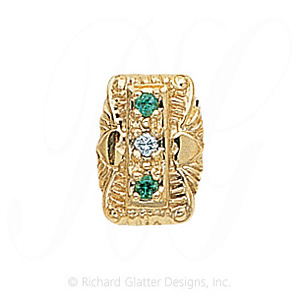 GS091 D/E - 14 Karat Gold Slide with Diamond center and Emerald accents