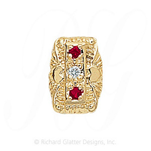 GS091 D/R - 14 Karat Gold Slide with Diamond center and Ruby accents