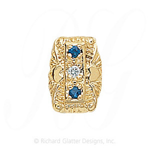 GS091 D/S - 14 Karat Gold Slide with Diamond center and Sapphire accents