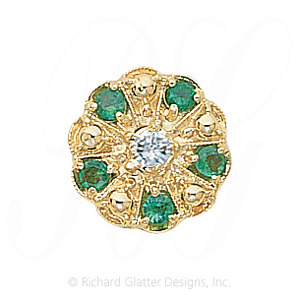 GS093 D/E - 14 Karat Gold Slide with Diamond center and Emerald accents