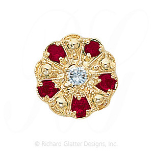 GS093 D/R - 14 Karat Gold Slide with Diamond center and Ruby accents