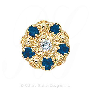 GS093 D/S - 14 Karat Gold Slide with Diamond center and Sapphire accents