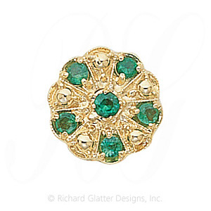 GS093 E - 14 Karat Gold Emerald Slide