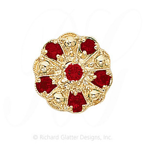GS093 G - 14 Karat Gold Garnet Slide
