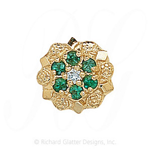 GS099 D/E - 14 Karat Gold Slide with Diamond center and Emerald accents