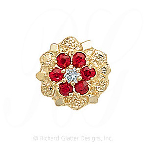 GS099 D/R - 14 Karat Gold Slide with Diamond center and Ruby accents