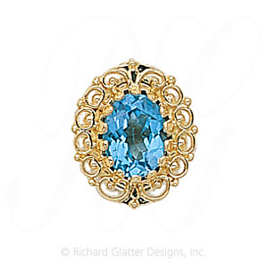 GS104 BT - 14 Karat Gold Blue Topaz Slide