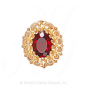 GS104 G - 14 Karat Gold Garnet Slide