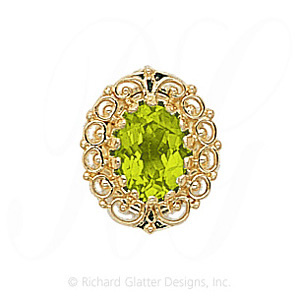 GS104 PD - 14 Karat Gold Peridot Slide