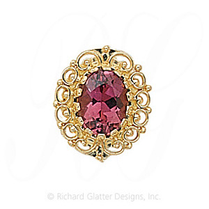 GS104 PT - 14 Karat Gold Pink Tourmaline Slide
