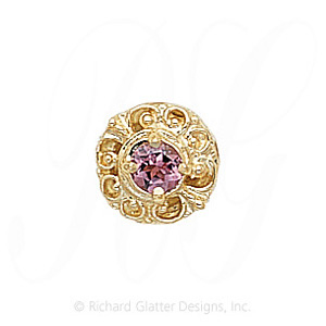 GS109 PT - 14 Karat Gold Pink Tourmaline Slide