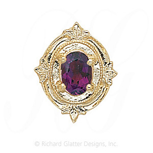 GS147 AMY - 14 Karat Gold Amethyst Slide