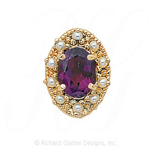 GS174 AMY/PL - 14 Karat Gold Slide with Amethyst center and Pearl accents