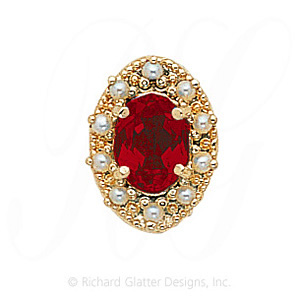 GS174 G/PL - 14 Karat Gold Slide with Garnet center and Pearl accents