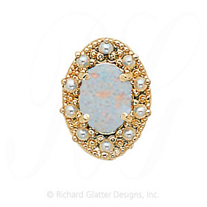 GS174 OP/PL - 14 Karat Gold Slide with Opal center and Pearl accents