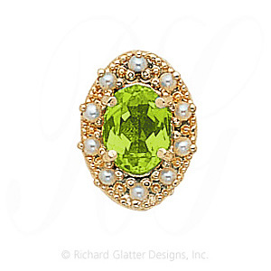 GS174 PD/PL - 14 Karat Gold Slide with Peridot center and Pearl accents