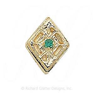 GS196 E - 14 Karat Gold Emerald Slide