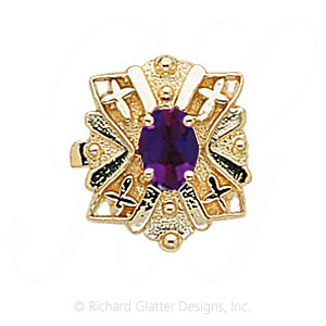GS244 AMY - 14 Karat Gold Amethyst Slide