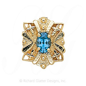 GS244 BT - 14 Karat Gold Blue Topaz Slide
