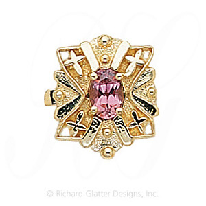 GS244 PT - 14 Karat Gold Pink Tourmaline Slide