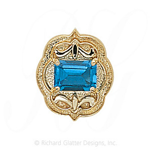 GS255 BT - 14 Karat Gold Blue Topaz Slide